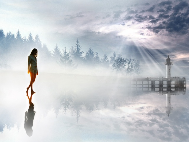 Girl-Walking-In-The-Hazy-Light