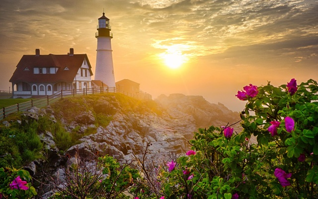 Lighthouse-morning-rocks-flowers-sunrise_1920x1200